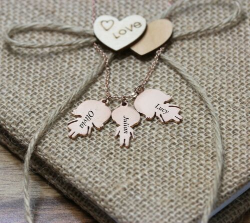Personalised 3 Children Child Girl Boy Necklace Jewellery Silver Gold RosePlated