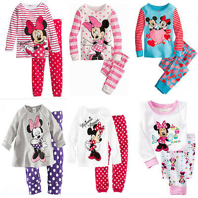 Sweet Minnie Mickey Mouse Dot Kids Girls Love Nightwear Pajamas Sleepwear Suit