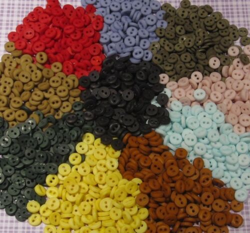 "6mm 2 Holes Lots of 25//50 Round BUTTONS Hand Dyed Tiny ¼/"" Assorted Colors"