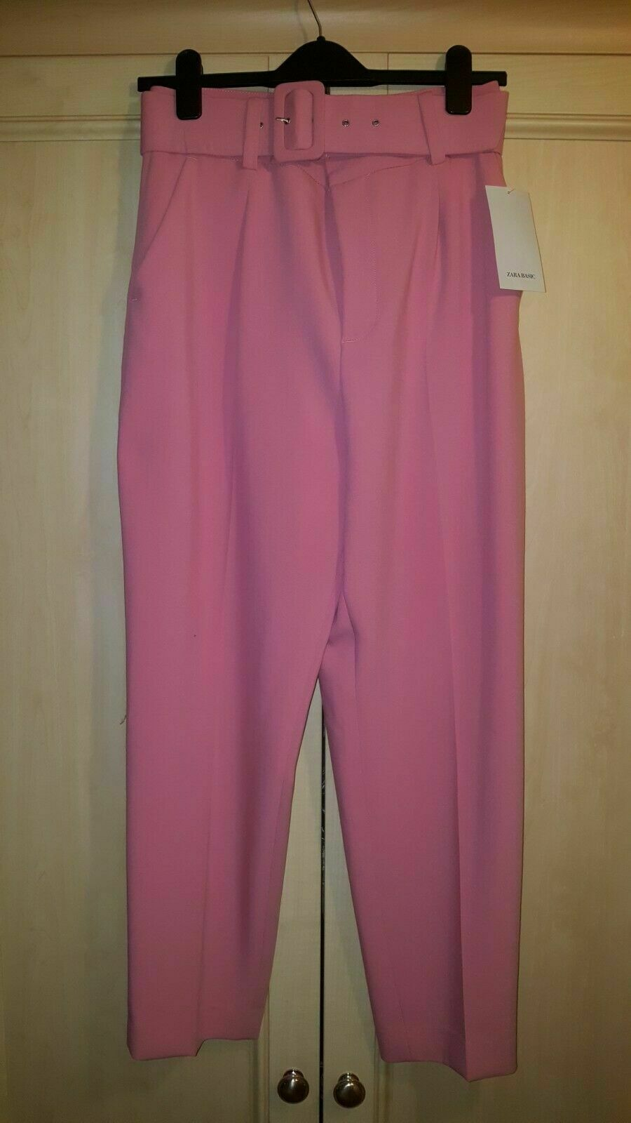 BNWT ZARA Rosa BELTED TROUSERS Größe EXTRA SMALL
