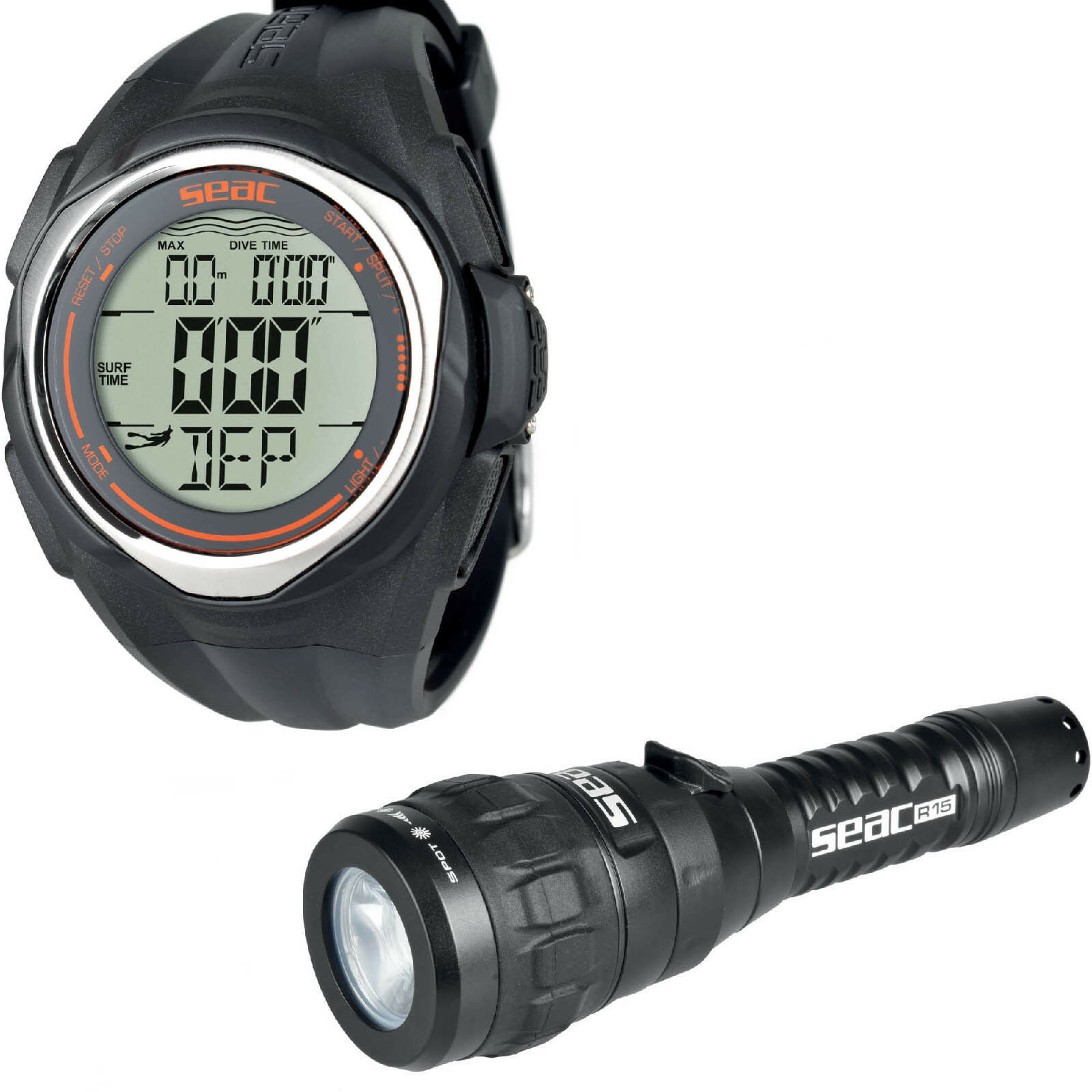 LO3 Computer apnea freediving Seac Sub Partner + Torch led Seac R15 rechargeable