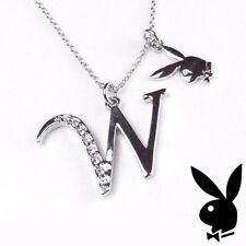 Playboy Necklace Initial Letter W Pendant Bunny Charm Crystals Platinum Plated