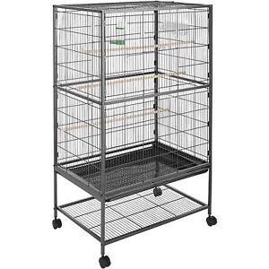 Volière cage à oiseaux sur roulettes perruches perroquets spacieux 131x78x52cm