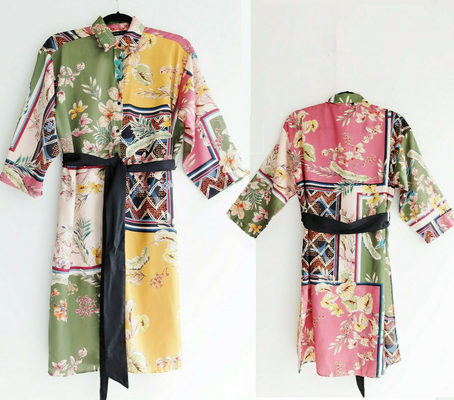 ZARA Patterned Patchwork Floral Print Satin Tunic Kimono Dress With Belt XS