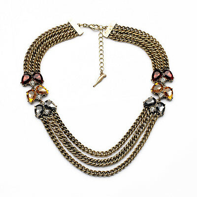 N2208 Vintage Gold 3 Layer Collar Necklace Color Code Plum Three-Row Necklace