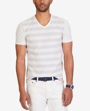 Nautica Mens Stripe V-Neck T-Shirt Marshmallow XXL