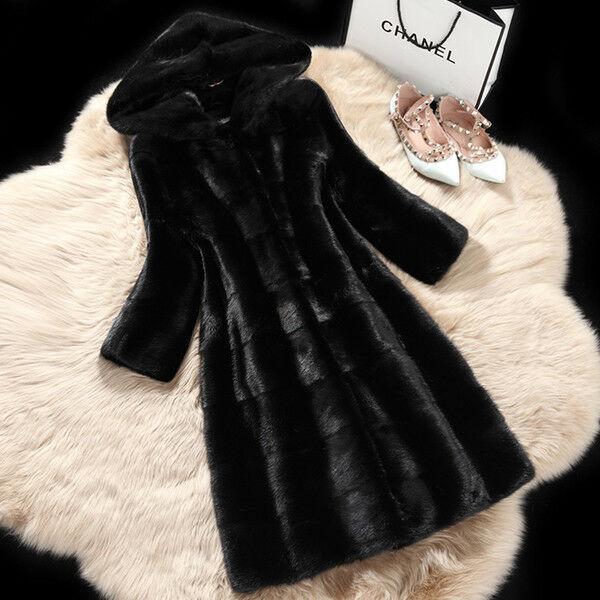 Giacca cappotto  pelliccia ecologica sintetica noir cappuccio morbido  1349