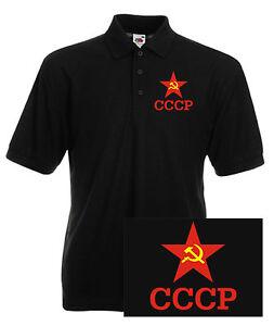 CCCP-Hoz-y-martillo-ruso-sovietico-KGB-POLO-COMUNISTA-con-cuello-camiseta