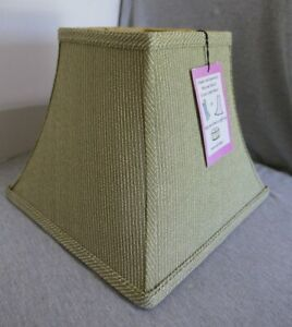 """NEW Green & Beige Striped Fabric & Brass Square Lamp Shade 13"""" W x 10.5"""" H"""