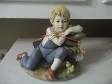 VINTAGE HOUSE OF GOEBEL Capodimonte Benacchio PORCELAIN Figurine BOY WITH CHICKS