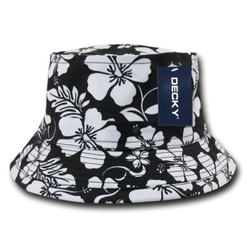 Black Fishermans Fishing Hunting Floral Hawaiian Bucket Jungle Safari Cap Hat