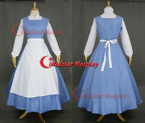 Disney Beauty and the Beast Belle Blue Dress Maid Cosplay Costume