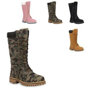 05896b03e49dd1 Das Bild wird geladen Damen-Worker-Boots-Warm-Gefuetterte-Stiefel-Profil- Winterstiefel-