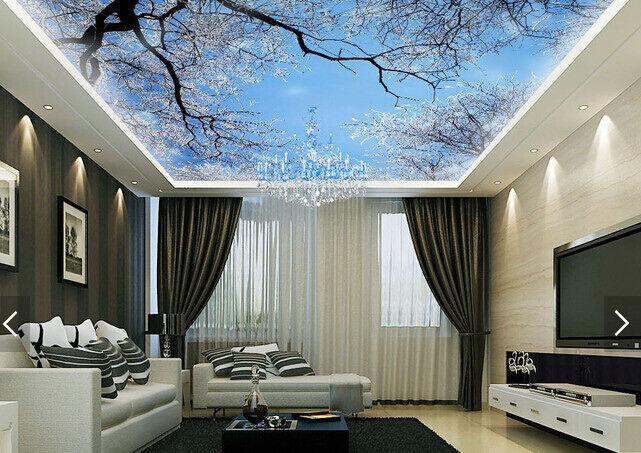 3D Winter Snow Tree 9 Ceiling WallPaper Murals Wall Print Decal Deco AJ WALLPAPE