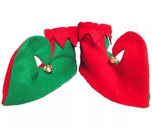 Elf Pixie Zapatos Botas rojo y verde con campanas Vestido de Fantasía Accesorio De Fiesta De Navidad