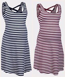 bb96f999884ac Summer New Look Navy Burgundy Stripe Maternity dress.New.Size<wbr/>