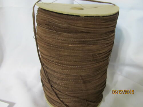 """1//8/""""  RAW EDGE LEATHER Suede Trim  single face stitched  Brown Spool  600 Yd"""