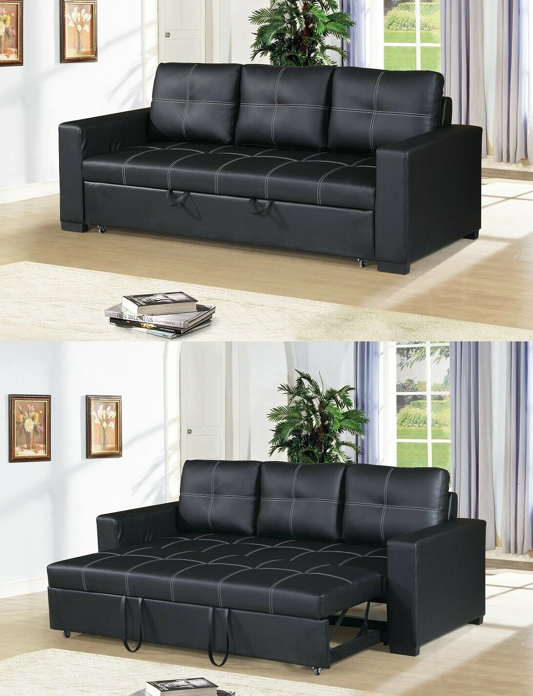 Picture of: Small Space Convertible Sofa Bed Fuax Leather Black Plush Couch Comfort Modern For Sale Online