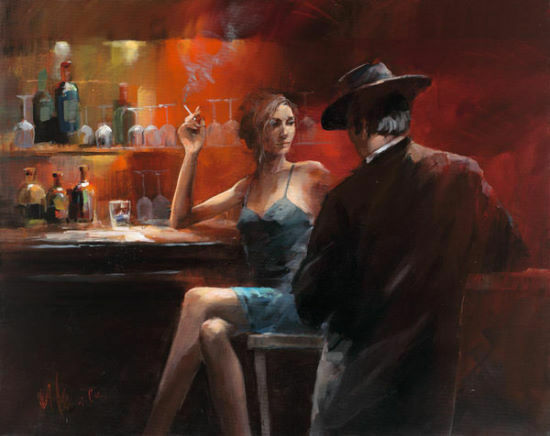 Willem Haenraets  Evening In The Bar II terminé-image 60x80 la fresque