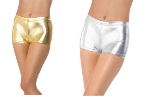 Miss Whiplash Shorts Metallic Fancy Dress Accessory PVC Shorts S-L