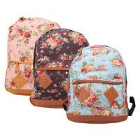 Women Fashion Vintage Cute Flower School Campus Book Bag Lady Backpack New