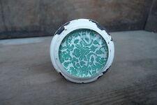 White & Aqua Metal & Glass Floral Pattern Drawer Pull knob ~ NEW ~ Dresser