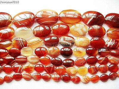 Red Carnelian Natural Agate Gemstone Oval Loose Beads 15'' Inches Strand