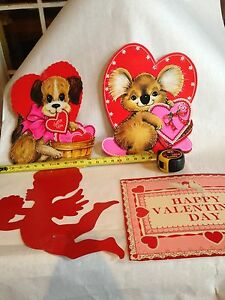 4 Vintage Valentines Day Paper Die Cut Usa Puppy Koala Cute Retro