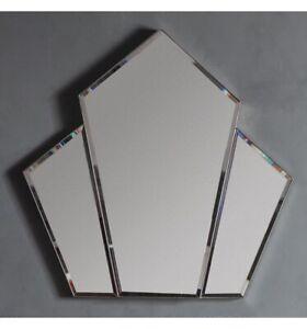Art Deco Silver Fan Wall Mirror Art Deco Mirror With Silver Edging 100x100cm Ebay