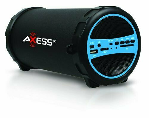 Axess SPBT1036RD  Portable Indoor//Outdoor Bluetooth Hi-Fi Cylinder 2.1 Speaker with 6-Inch Subwoofer and 1 Wireless Mic Red