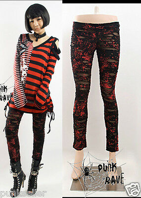 Punk Rave womens Gothic Stretchy Skinny RED Tight Leggings ripped Pants S-XXL