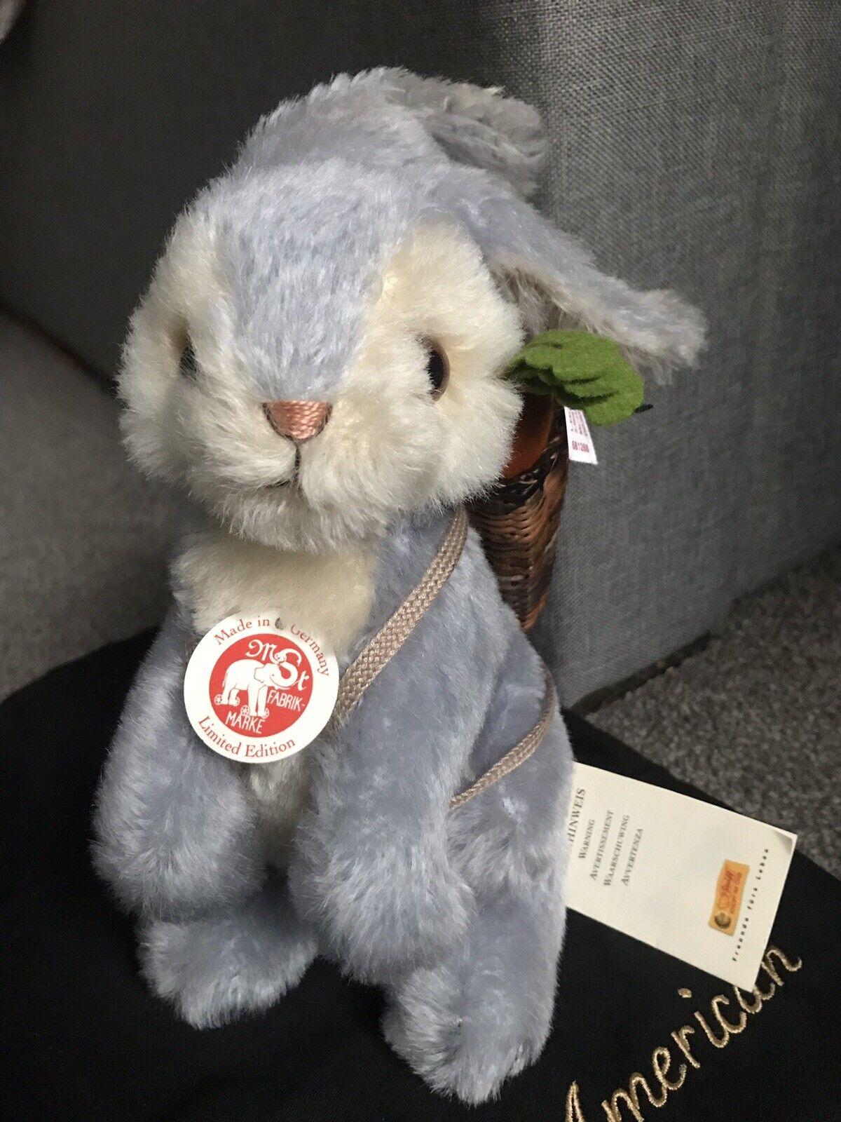 Steiff Ltd Ed Blue Mohair Rabbit White Tag N. Amer Mint Bag All Tags Ean 681288