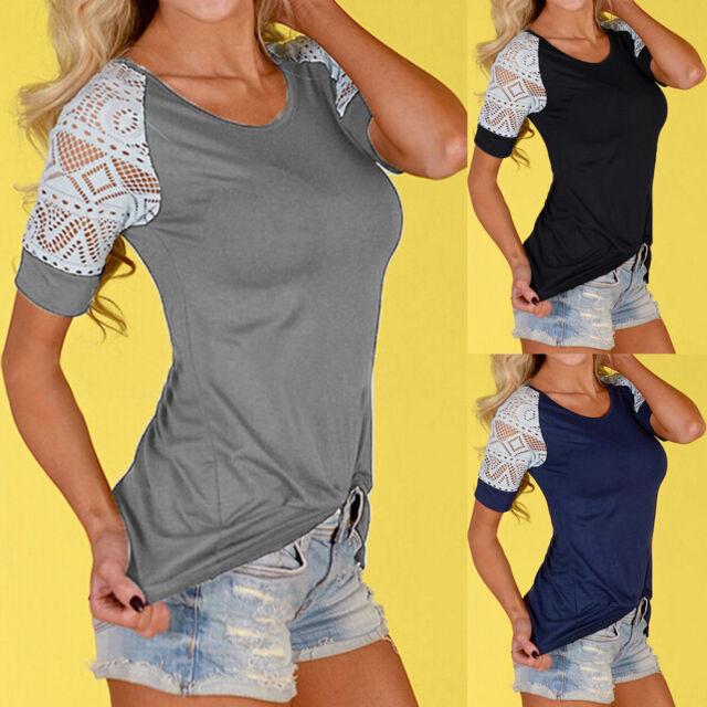 Women Lace Crochet Short Sleeve T-Shirt Tops Slim Casual Summer Blouse Tee Shirt
