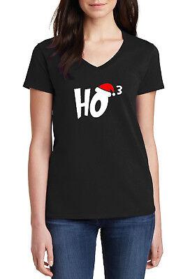 Ladies Tee Shirt Santa Christmas Funny Claus Ugly Sweater Tee HO3 Ho Ho Ho