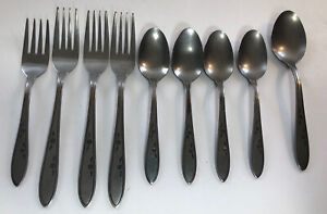 Vintage Imperial Stainless Korea Flatware Dancing Flowers 9 Pieces