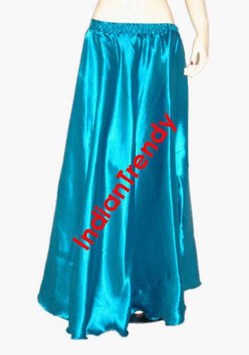 White Satin Maxi Skirt 4-5 Yard Belly Dance Tribal Half Circle Jupe Robe Gypsy