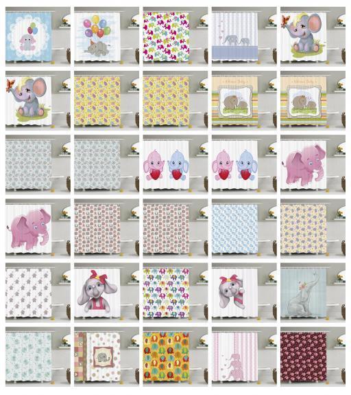 Elephant Nursery Pattern Shower Curtain Fabric Decor Set with Hooks 4 Größes