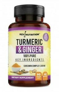 Key-Nutrition-Turmeric-amp-Ginger-Circumin-1300-mg-100-Pure-90-Caps-Exp-7-28-2022