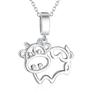 """S925 Sterling Silver Cow Animal Pendant Necklace 18"""" Rolo Chain Animal Jewelry"""