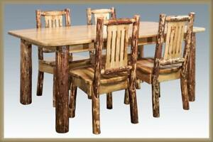 Amish Log Dining Room Set - 6\' Table and 4 Chairs - Stained and ...