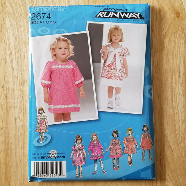 3929c3ce17 Sewing Pattern Toddler Dress Sleeve   Trim Variations Simplicity 2674 New  Uncut