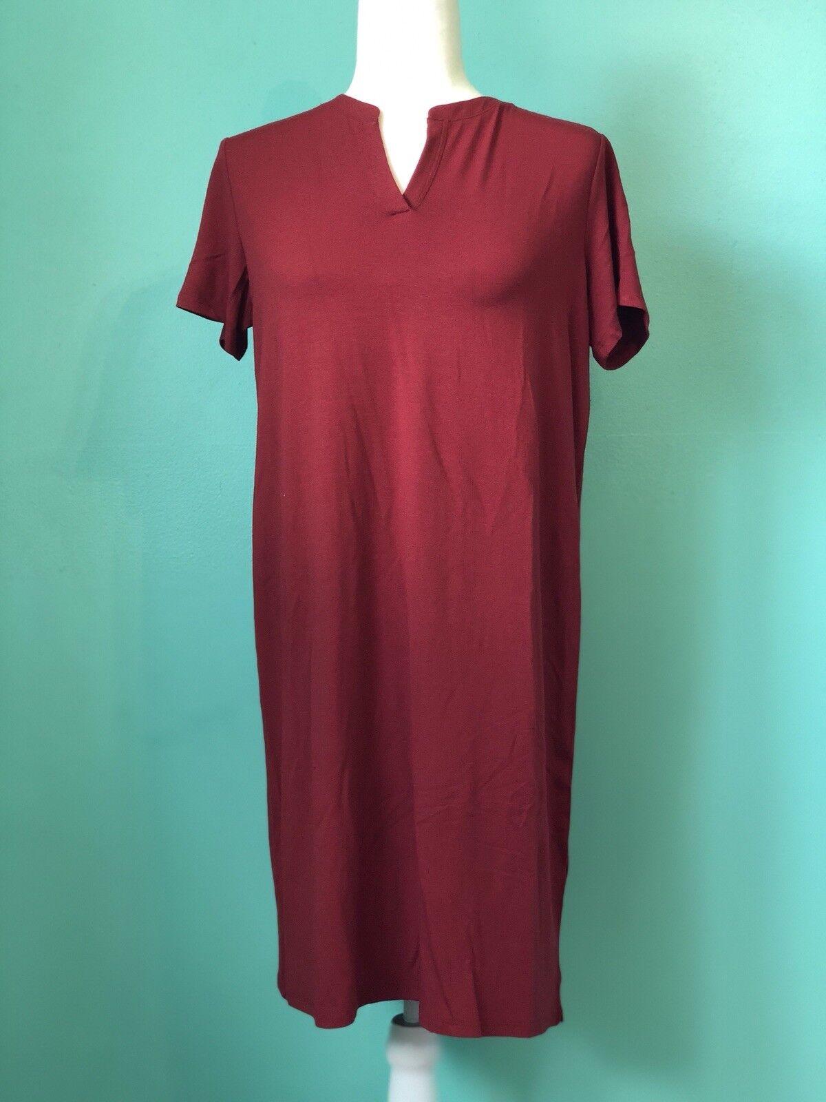 NWT  Eileen Fisher Collar Summer Jersey T-Shirt Dress Flowy Mandarin S NEW