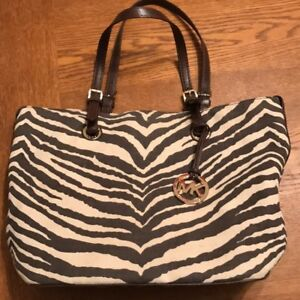 b74f11ca0f3dce Image is loading Michael-Kors-Zebra-Print-Canvas-Tote-Purse-Bag