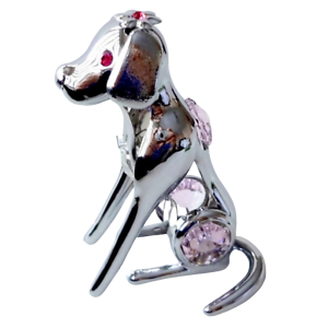 Crystocraft-Dog-Crystal-Pet-Ornament-With-Swarovski-Elements-Boxed-Pink-Silver
