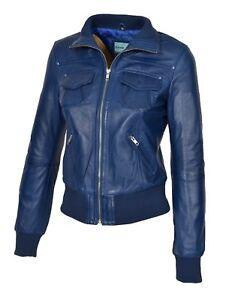 femme cuir Trendy Blouson bleu Blouson en pour aviateur Fit Manteau Slim Designer XwqZCA