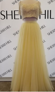 aa14d3b1fd455 Image is loading Sherri-Hill-51771-Yellow-Lace-Crop-Top-Gown-