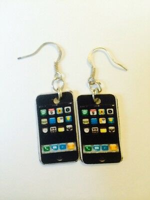 Apple Iphone Cell Phone Earrings HANDMADE PLASTIC CHARMS Galaxy Android Cellular