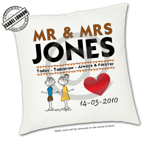 ILVC1085 Personalised Mr /& Mrs Wedding day cushion Cover.Add your own text