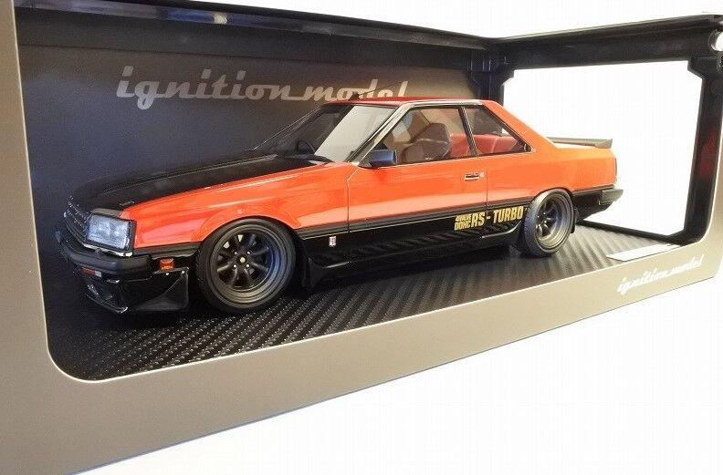 Ig0983 tändningsmodellllerl 1 18 Nissan Skyline 2000 -RS -Turbo R30 röd Watanabe -hjul