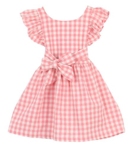 US Stock Toddler Girls/' Dresses Flutter Sleeve Cotton Spring Summer Ribbon Dress